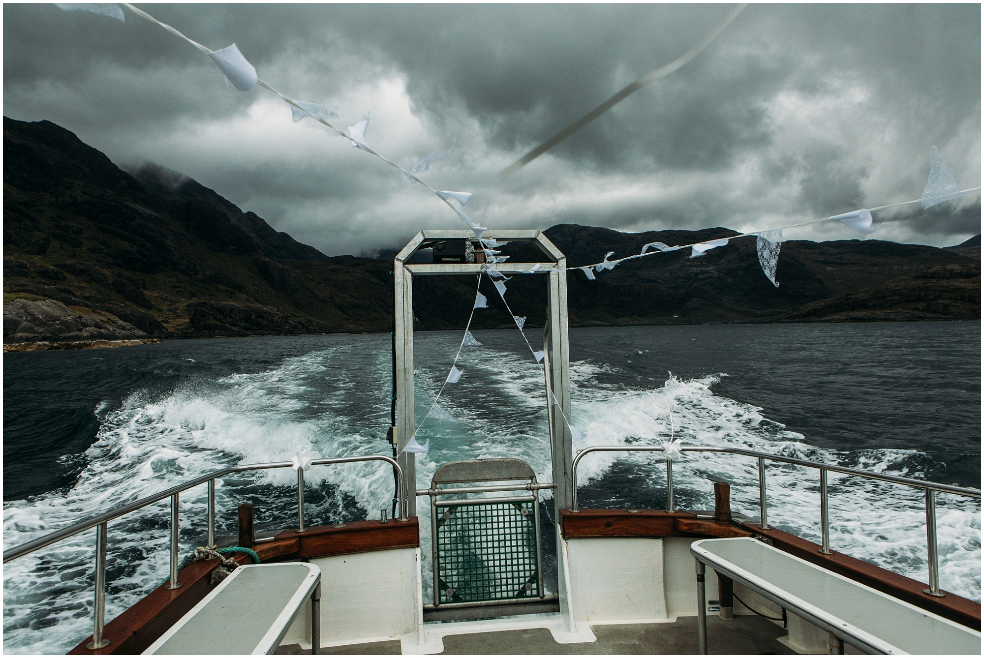 View of the Cuilin from sea Vow renewal photography Loch Coruisk Isle of Skye