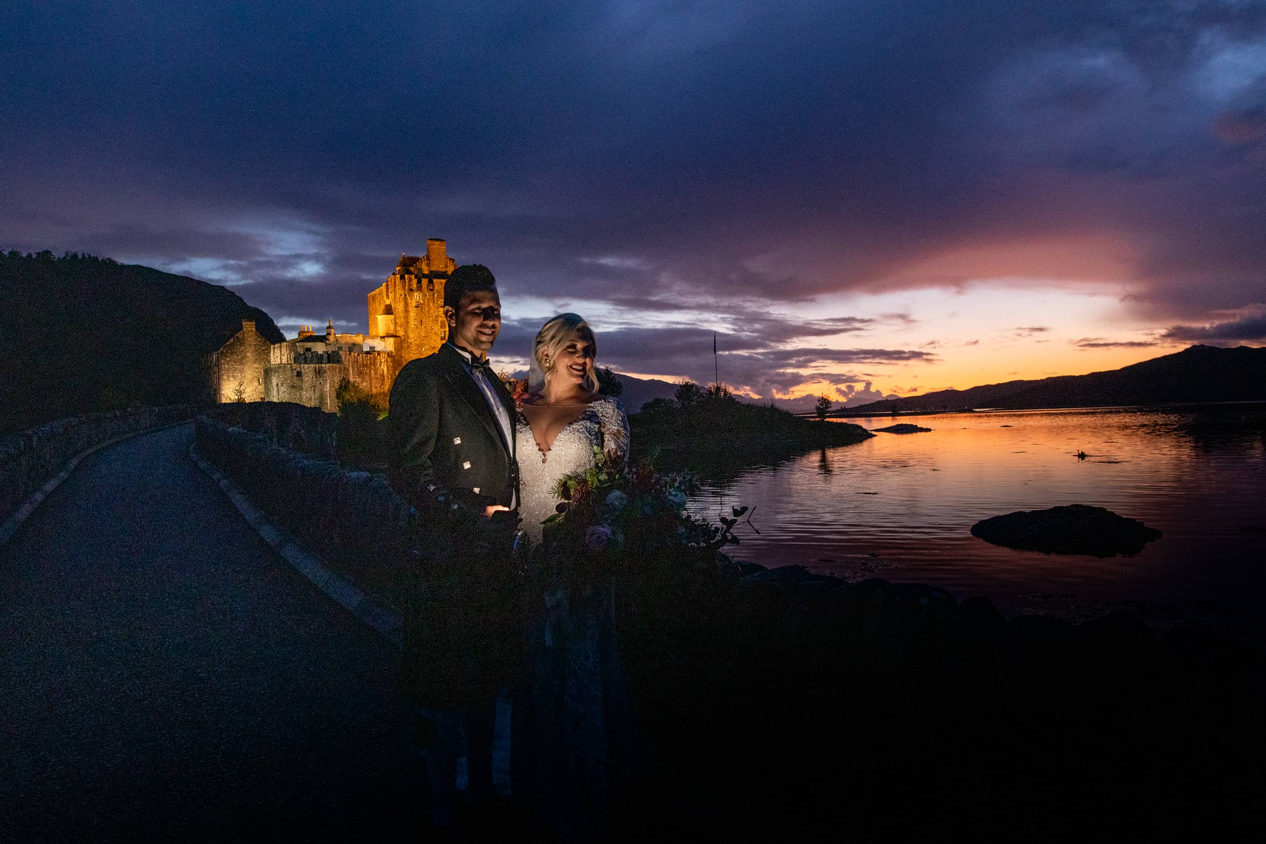 Eilean Donan castle wedding sunset