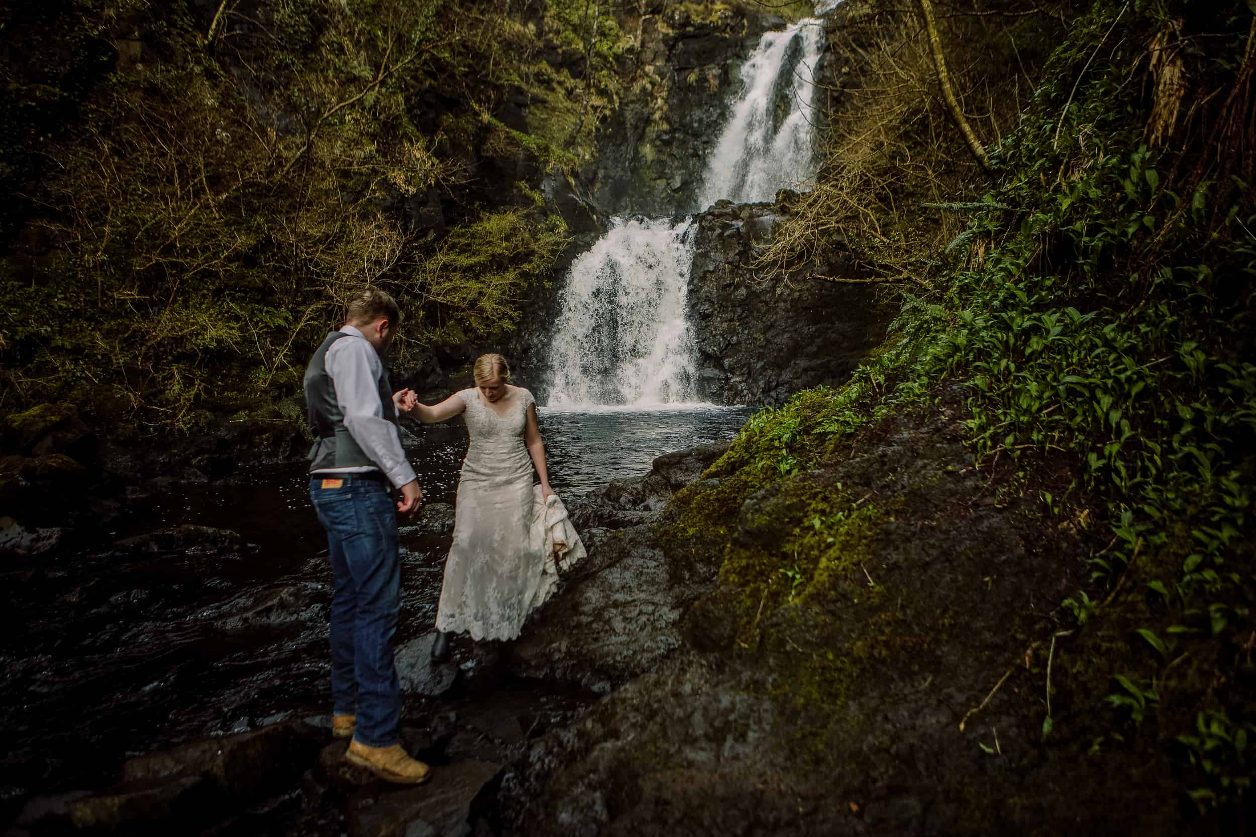 Elopement wedding photography Secret Waterfall Isle of Skye