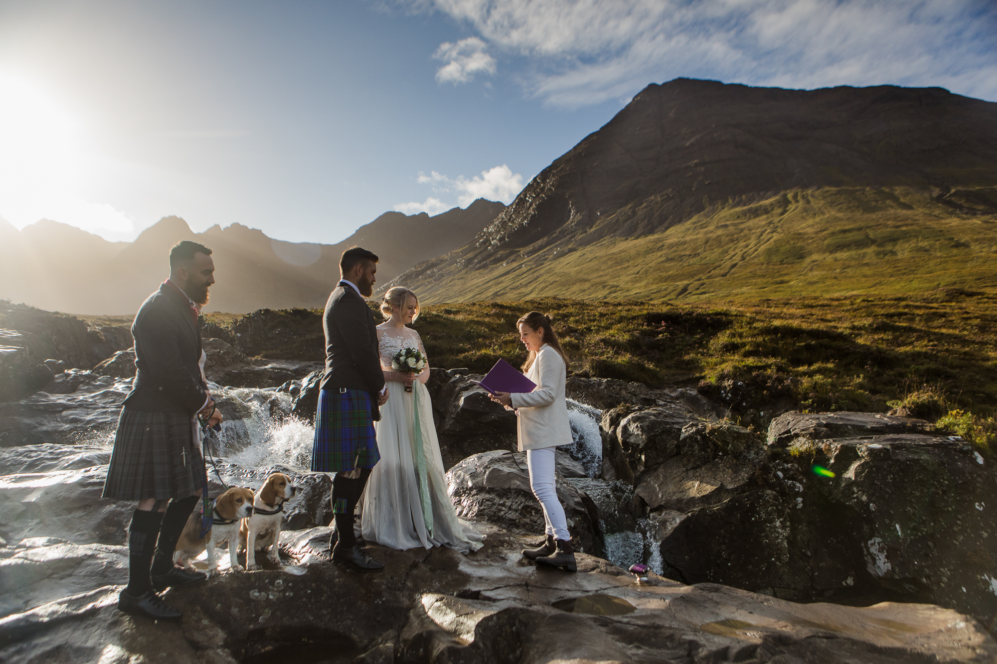 Elopement ceremony Fairy pools Isle of Skye early morning with beagles