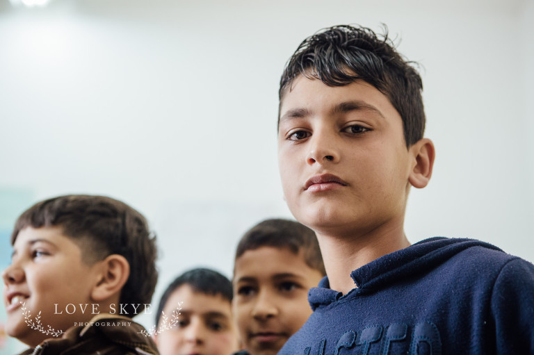 Syrian refugee boy children in a classroom in Iribid northern Jordan