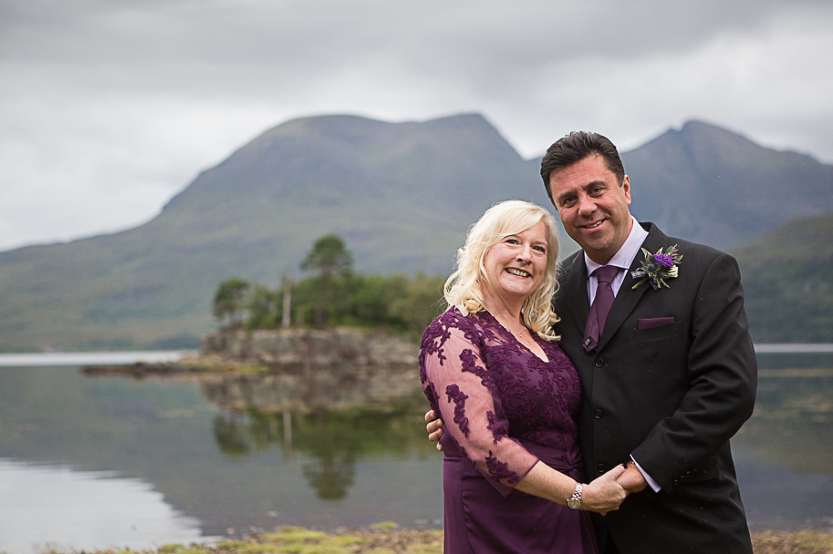 Bride and groom portraits outside at Torridon Hotel