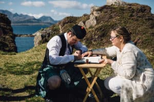 Wedding photography Cuillin ridge Dunscaith Isle of Skye signing register