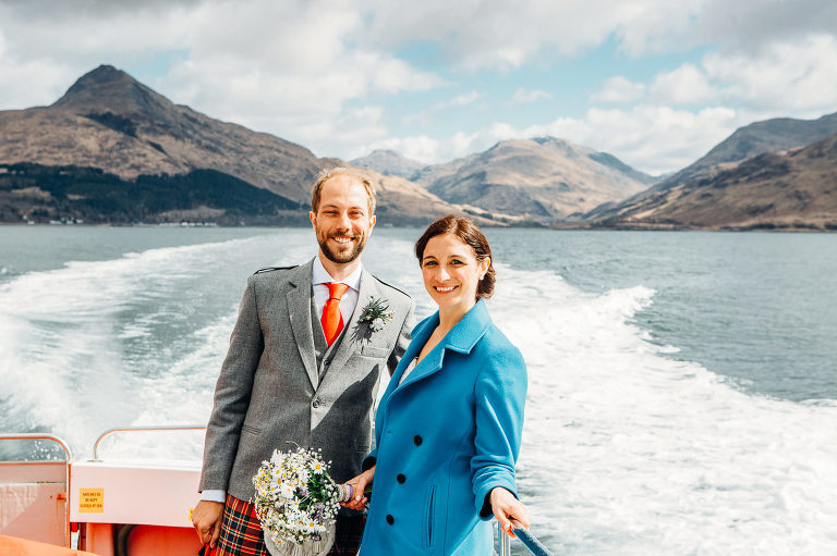 bride and groom on deck knoydart ferry knoydart and inverie