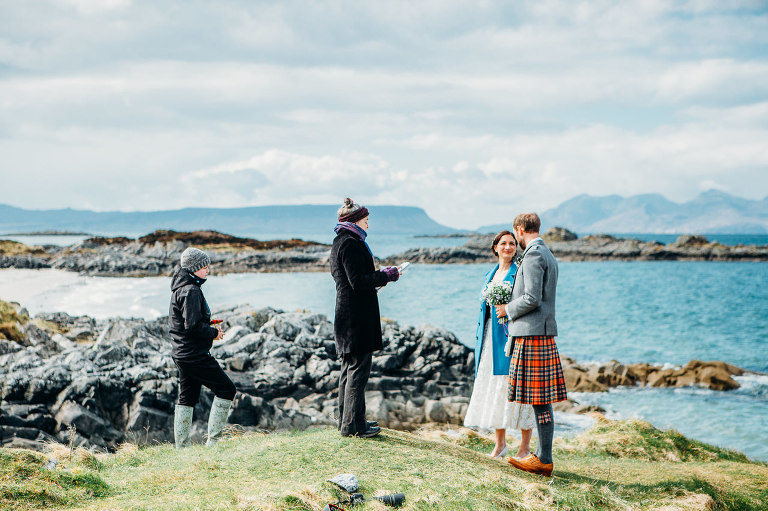 wedding ceremony at Camudarach with Arisaig and Eigg in background