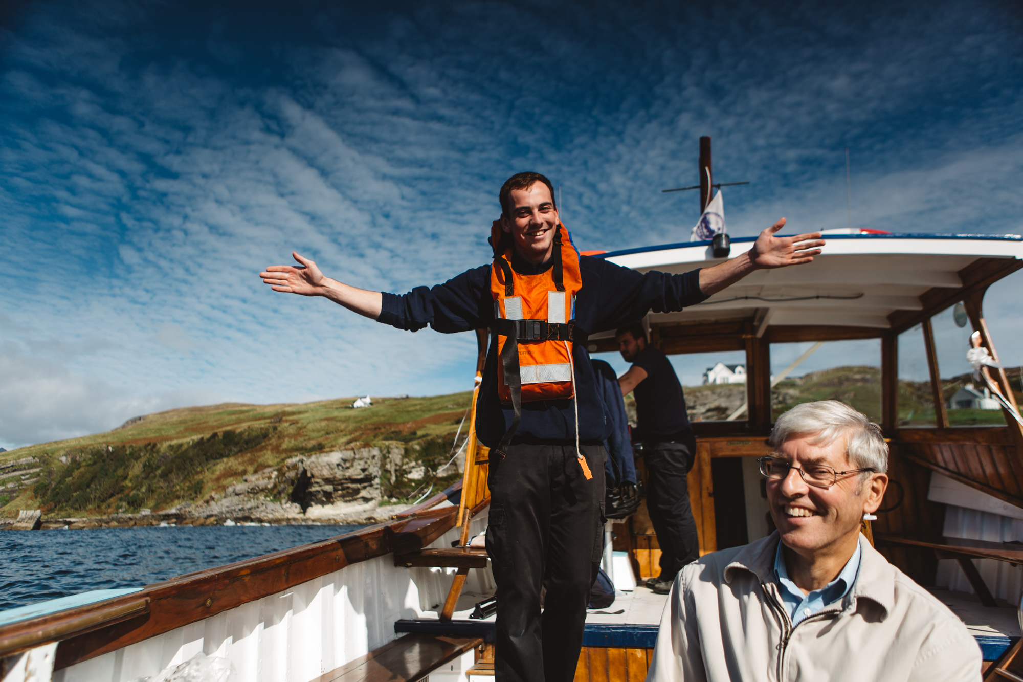 Crew give safety demo aboard Misty Isle Elgol