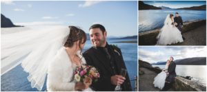 Bride and groom portraits Eilean Donan Castle views to Skye