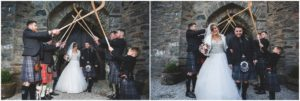 Shinty guard of honour Eilean Donan Castle wedding