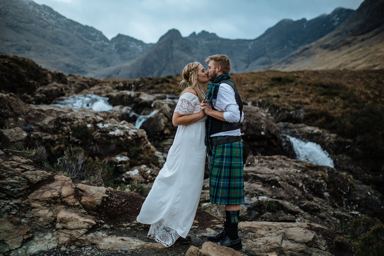 Fairy Pools and Slighachan elopement vow renewal Isle of Skye