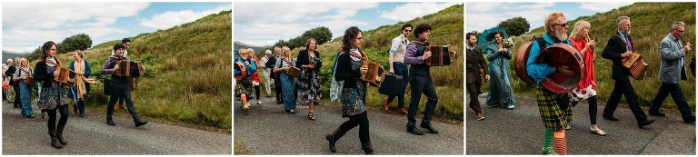 Isle of Skye Beach wedding photography, Morris dancer wedding, musicians wedding, elopement Isle of Skye