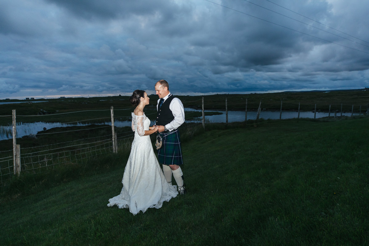 Bride and groom North Usit machair blue hour