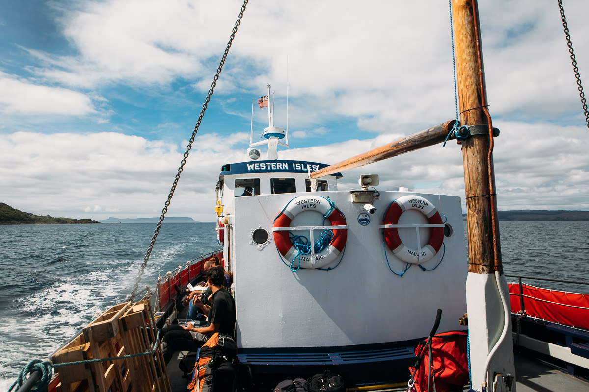 sailing on Western Isles ferry from Mallaig to Knoydart for a wedding