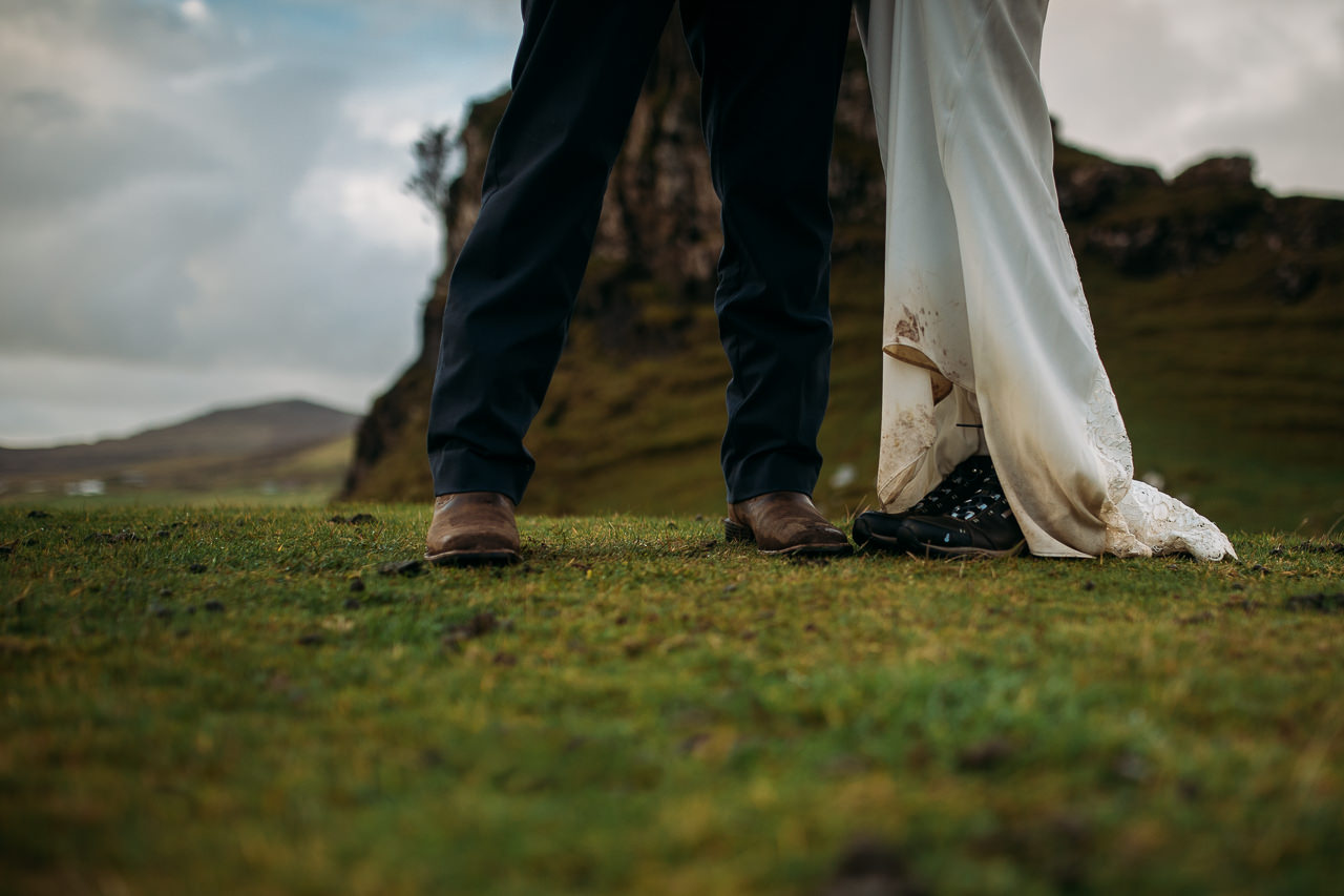 Muddy wedding dress and hiking boots Fairy Glen Isle of Skye
