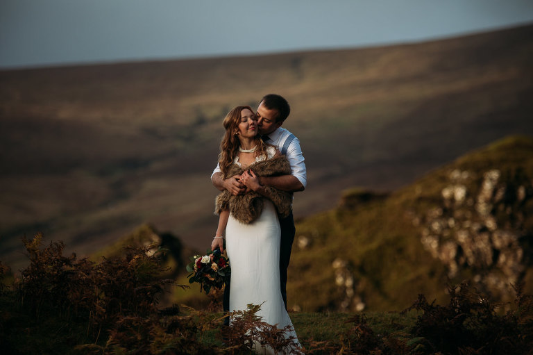 Bride and Groom embrace colours Isle of Skye