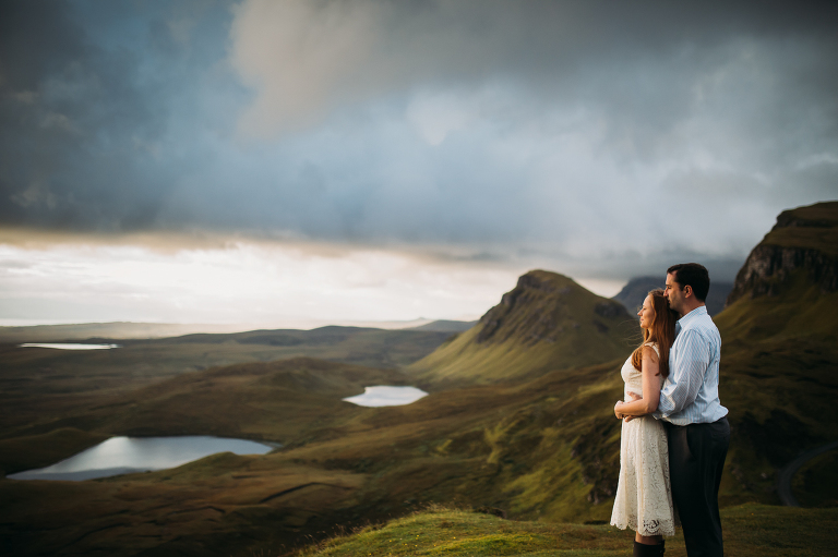 Bride and Groom sunrise Quiraing Isle of Skye Elopement