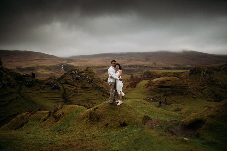Singapore bride and groom on moody day at Fairy Glen Isle of Skye pre wedding photography