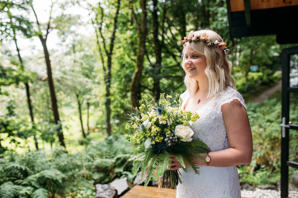 Bride and bouquet woodland Flodigarry Isle of Skye