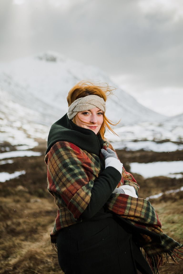 Girl in tartan wraps at Glencoe