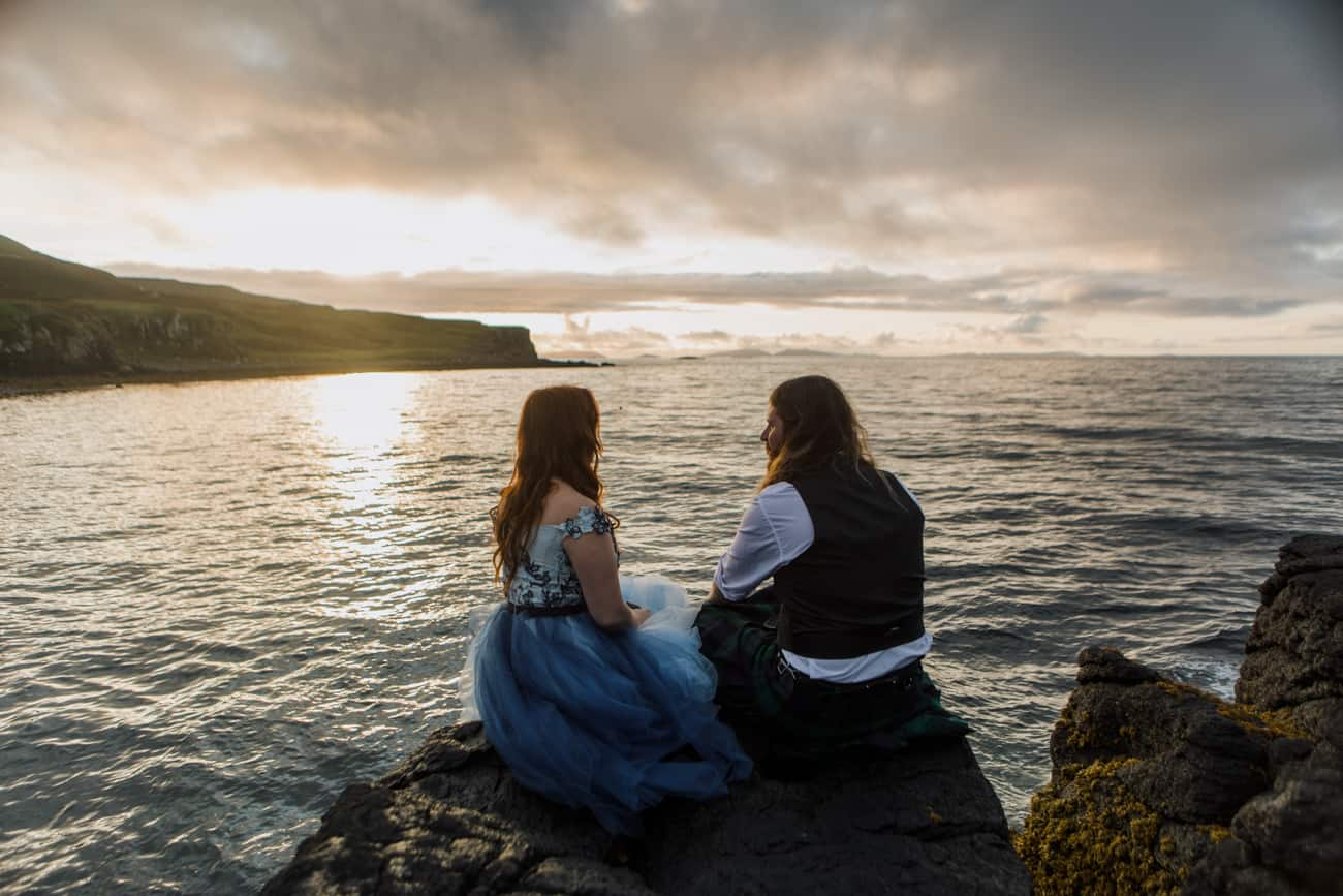 Sunset vow renewal photography Isle of Skye