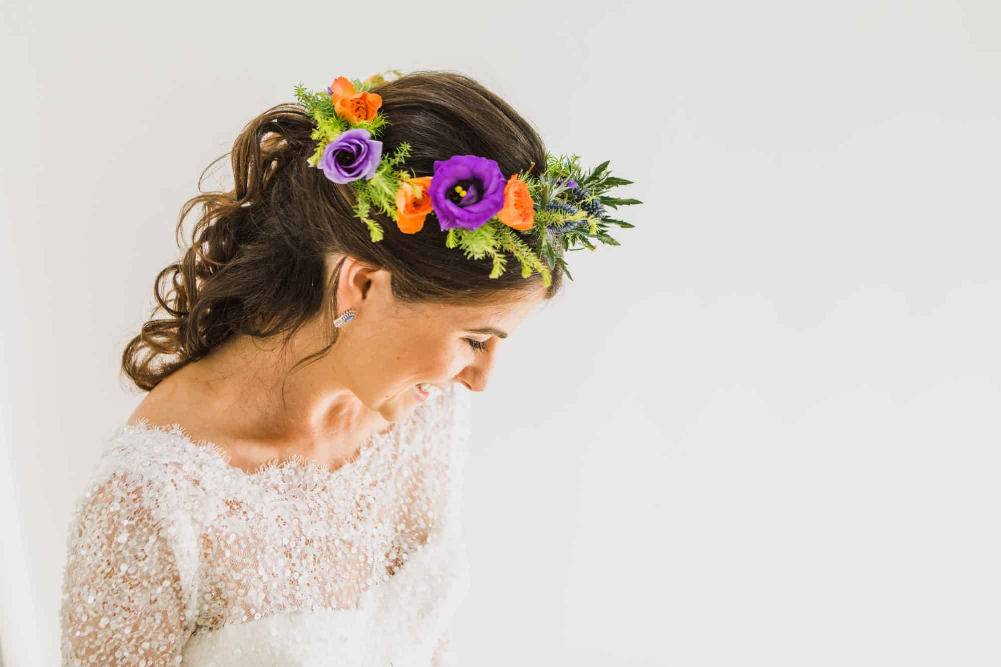 Bridal portrait with floral crown Coruisk House